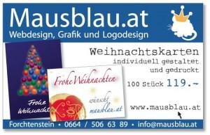 Weihnachtskarten-Inserat Mausblau.at
