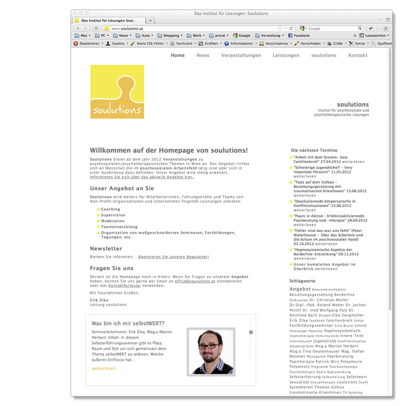 Webdesign, Wordpress, Mausblau und Soulutions