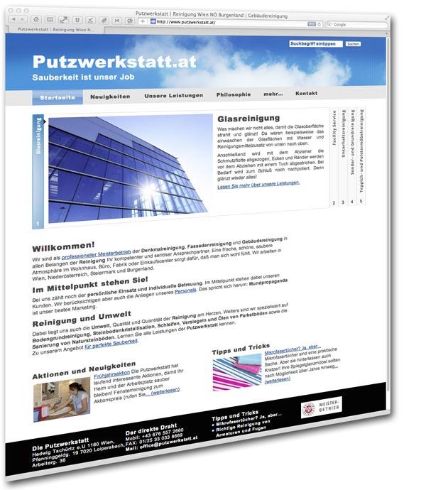 Putzwerkstatt mit Webdesign von Mausblau.at aus dem Burgenland