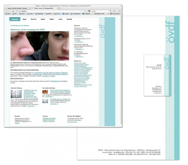 Corporate Design: Homepage, Briefpapier, Visitenkarte