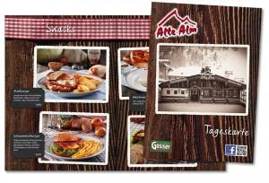 Speisekarte, Layout und Grafik von Mausblau