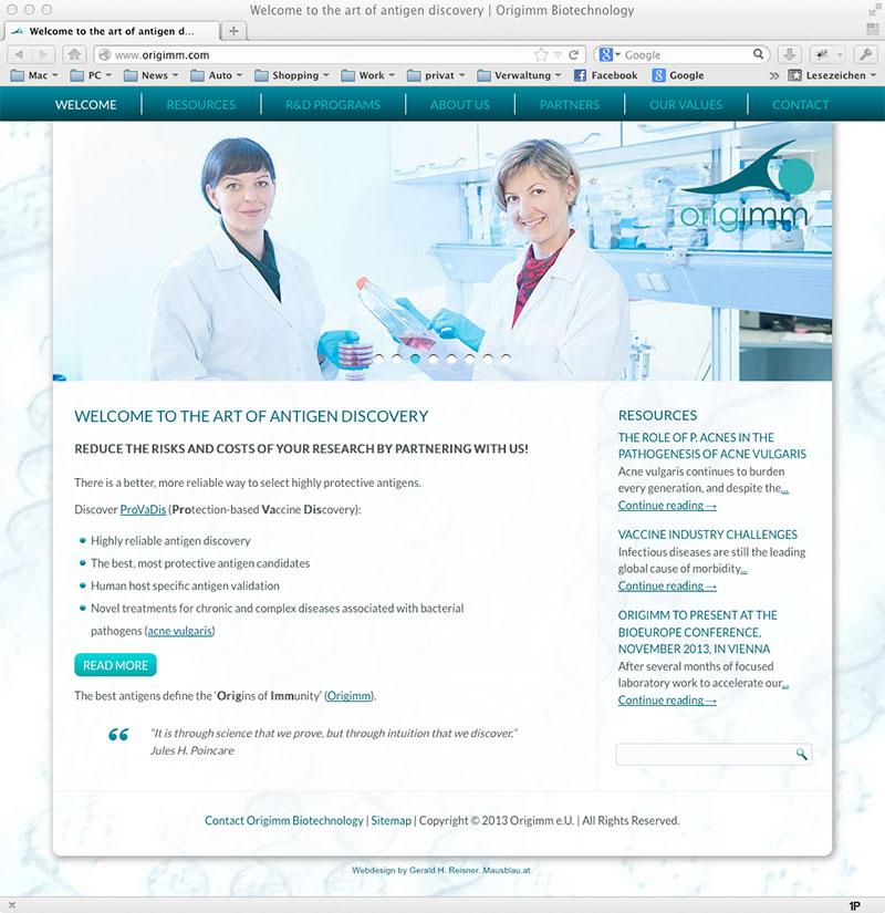 Origimm-Website: Webdesign von Mausblau