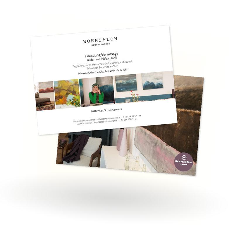 Layout-Grafikdesign: Flyer für Vernissage